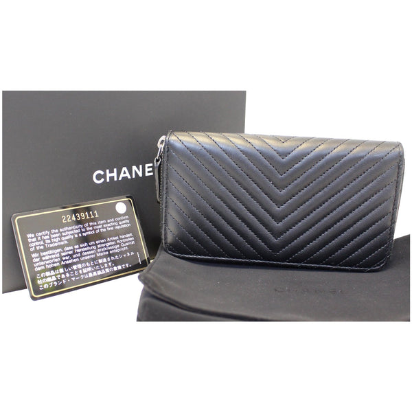 CHANEL Lambskin Chevron Quilted Zip Around Wallet Black-US