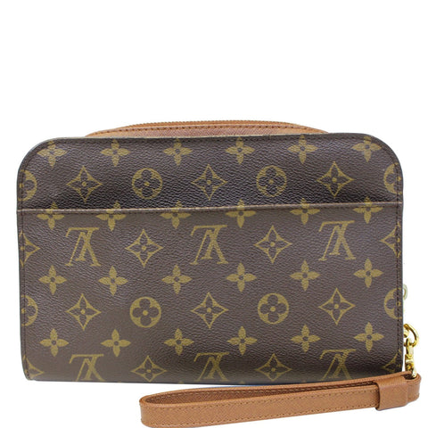 LOUIS VUITTON Orsay Monogram Canvas Clutch Bag Brown
