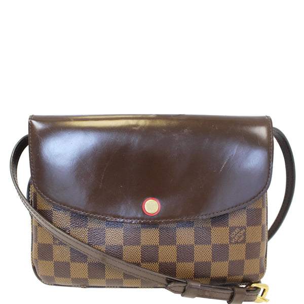 LOUIS VUITTON Twice Pochette Damier Ebene Crossbody Bag Brown