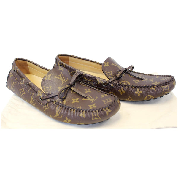 LOUIS VUITTON Arizona Moccasin Monogram Canvas Men's Shoes Loafers-US