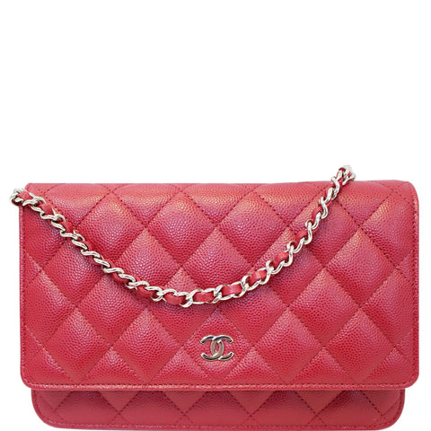 CHANEL Wallet On Chain WOC Caviar Leather Clutch Crossbody Bag Red