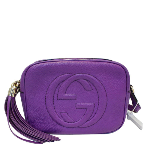 GUCCI Soho Disco Pebbled Leather Small Crossbody Bag 308364 Purple