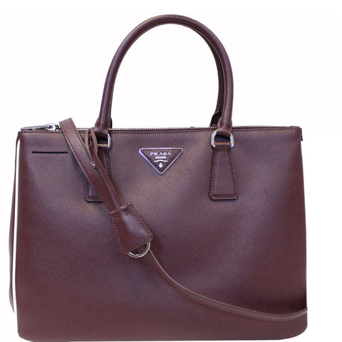 PRADA Lux Large Saffiano Leather Tote Shoulder Bag Burgundy