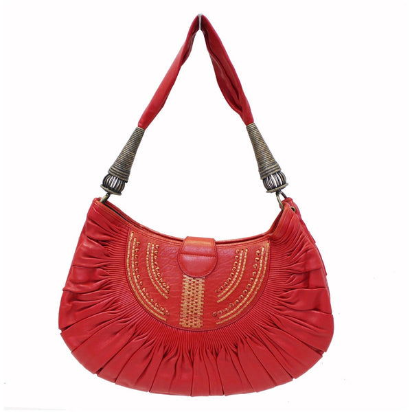 CHRISTIAN DIOR Plisse Pleated Leather Hobo Bag Red-US
