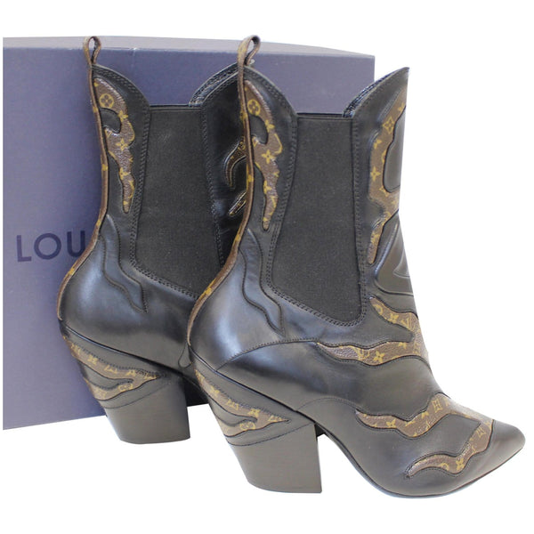 side view lv Fireball Leather Monogram Ankle Boots