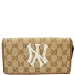 Gucci Zip Around NY New York Yankees Patch Wallet Beige