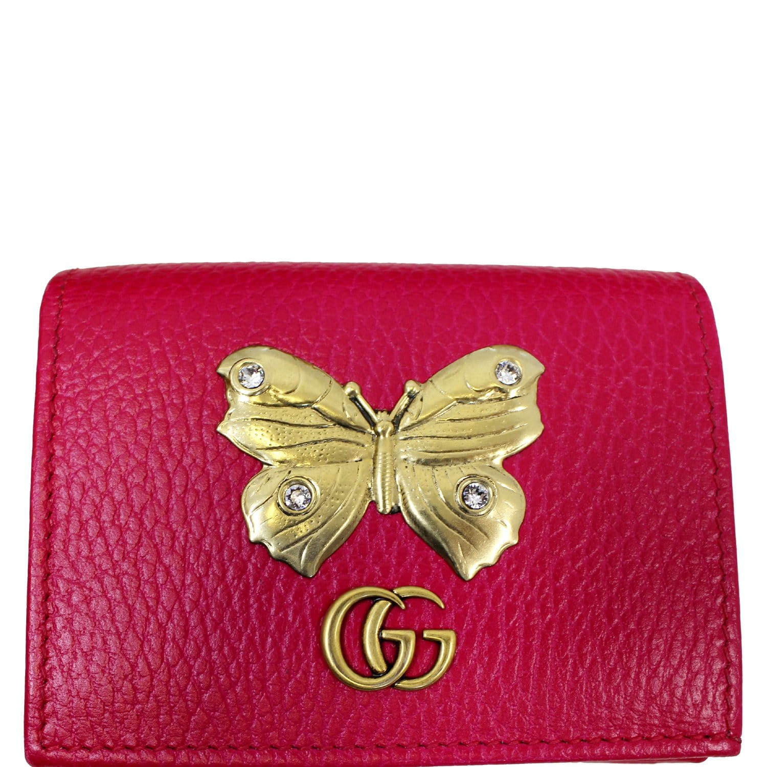 268c86845dc6d2 GUCCI Butterfly Leather Card Case Wallet Pink 499361-US