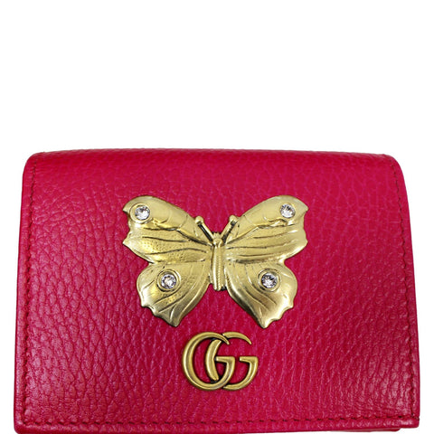 8c8e00709d8d GUCCI Butterfly Leather Card Case Wallet Pink 499361