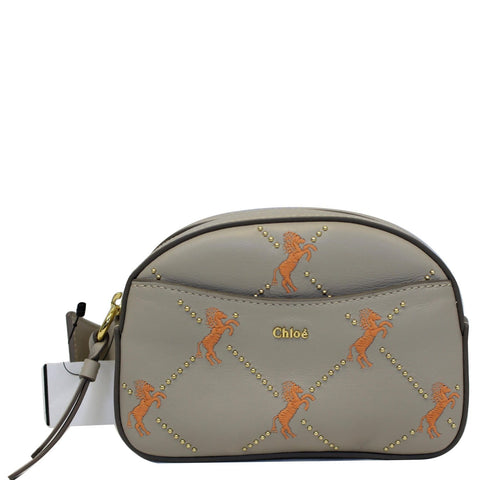 CHLOE Embroidered Little Horses Leather Belt Bum Bag Pastel Grey