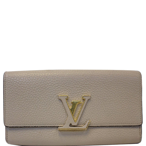 LOUIS VUITTON Capucines Taurillon Leather Wallet Galet