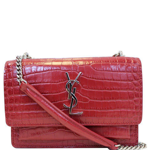 YVES SAINT LAURENT Sunset Crocodile-Embossed Wallet on a Chain Bag Red