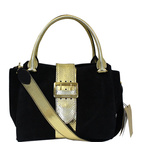 BURBERRY The Medium Buckle Suede and Snakeskin Tote Shoulder Bag Black