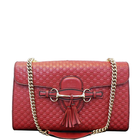 GUCCI Micro Emily GG Guccissima Leather Shoulder Bag 449635 Red