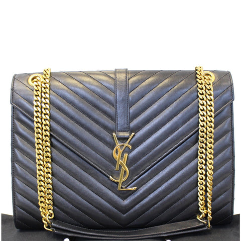 YVES Saint Laurent Large Envelope Chain Shoulder Bag Black