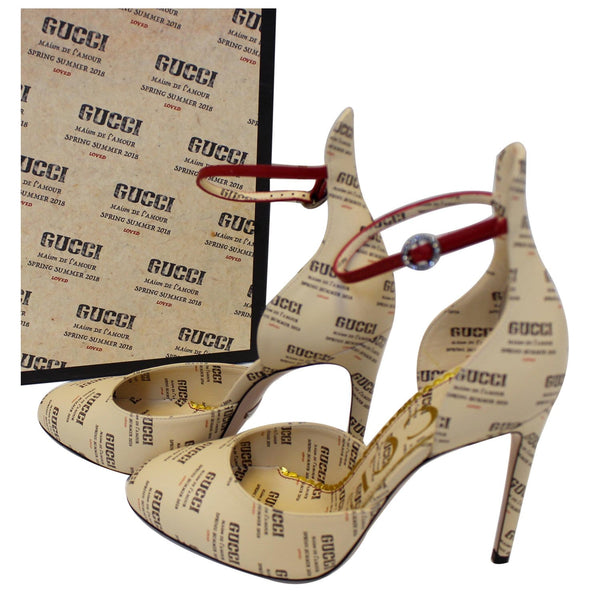 GUCCI Invite Stamp Print Apollo Pumps Beige Size 38-US