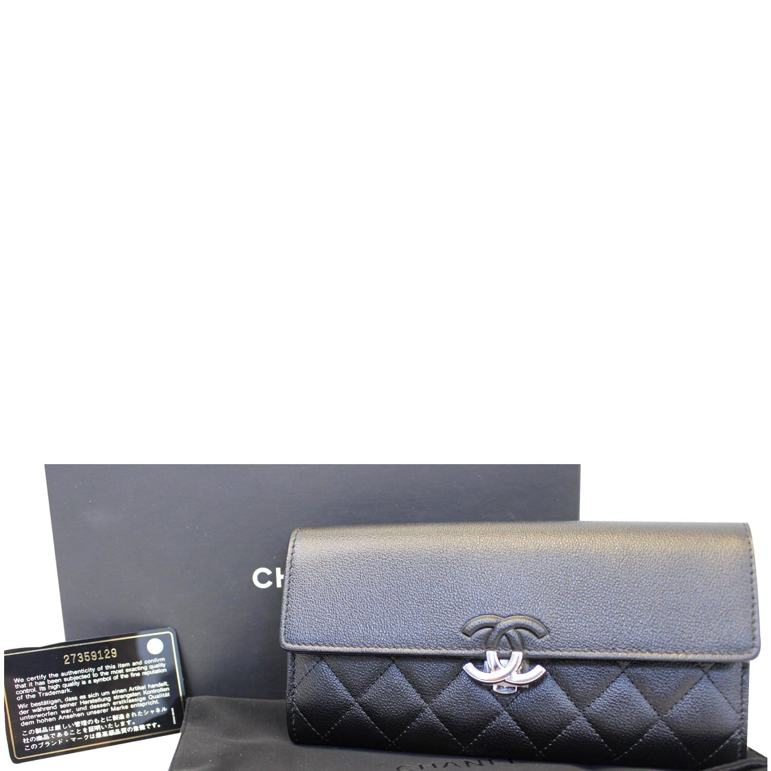 70b9b9dc50f3 CHANEL Grained Leather Long Flap Wallet Silver-Tone Metal-US
