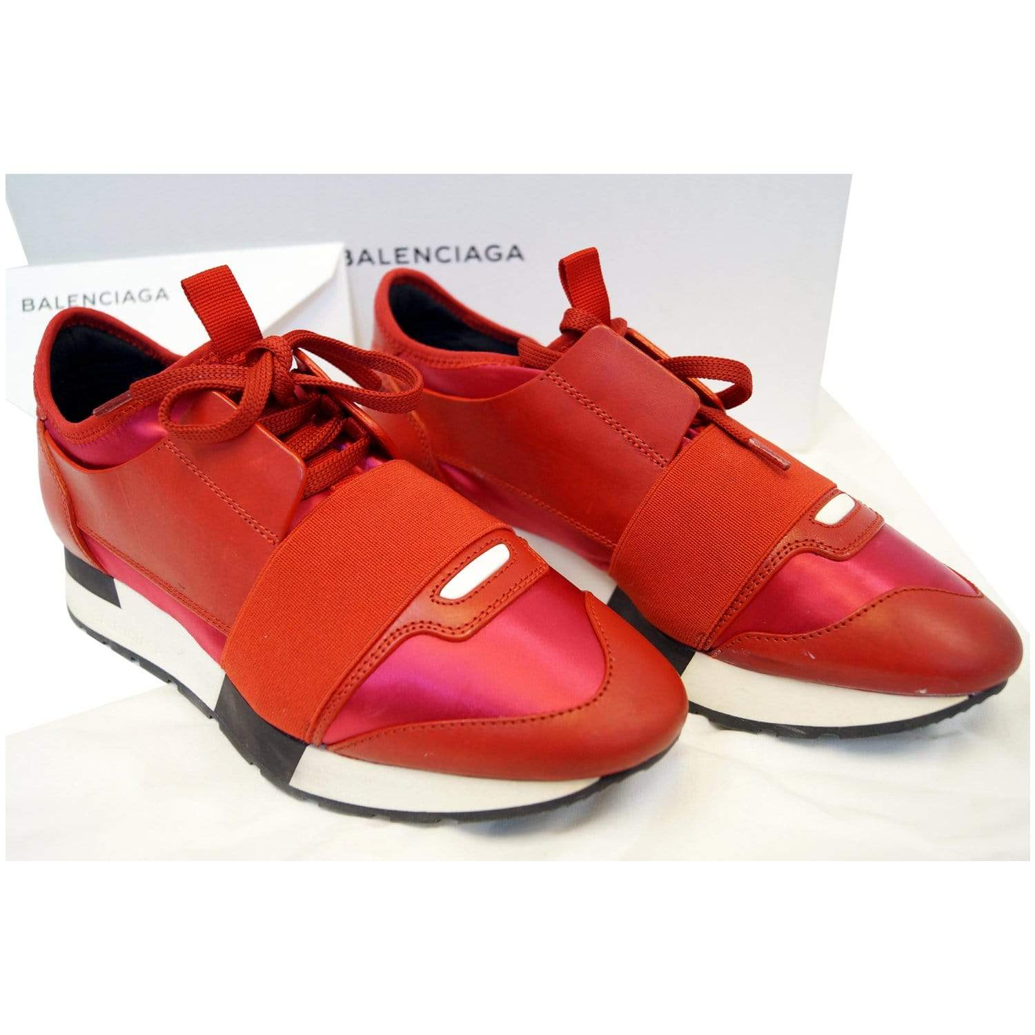 BALENCIAGA Race Runner Low Top Sneakers Red