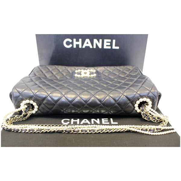 CHANEL Westminster Pearl Flap Lambskin Medium Shoulder Bag Black-US