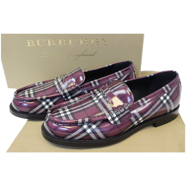 Burberry Check Leather Loafers - front view