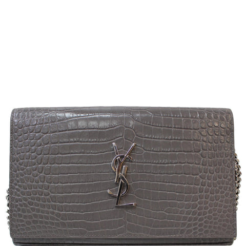 YVES SAINT LAURENT Kate Small Crocodile Leather Crossbody Bag Grey