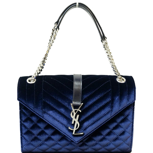 YVES SAINT LAURENT V Flap Tri-Quilt Velvet Shoulder Bag Navy Blue