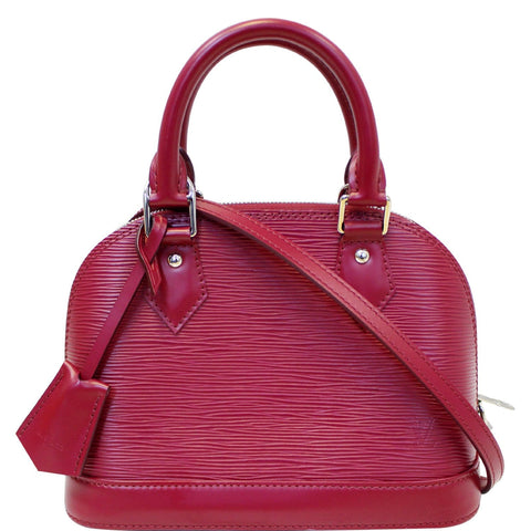 LOUIS VUITTON Alma BB Epi Leather Satchel Crossbody Bag Fuchsia
