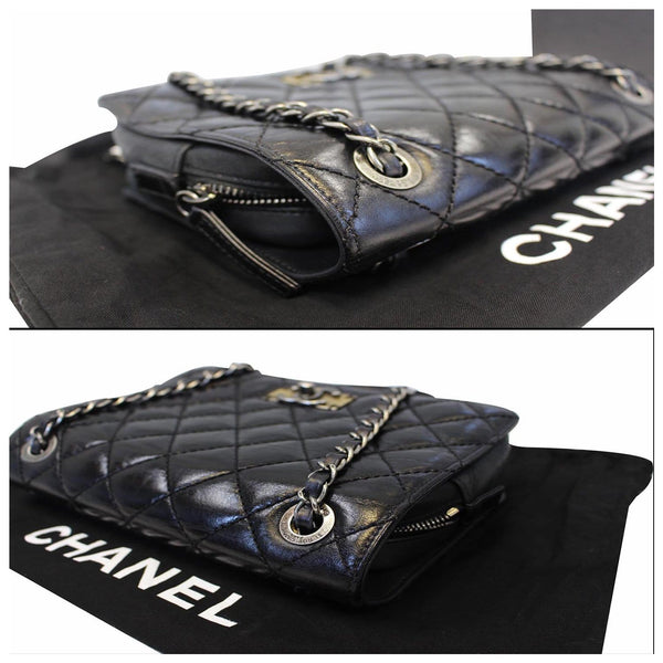 Chanel Flap CC Quilted Leather Crossbody Bag Black  - side view