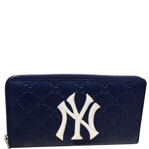 GUCCI Zip Around NY New York Yankees Patch Guccissima Wallet Blue
