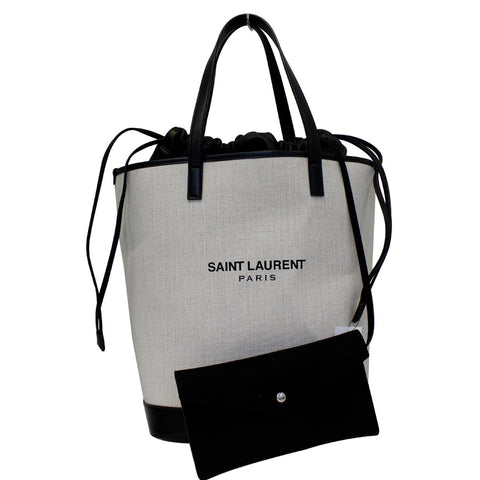 YVES SAINT LAURENT Teddy Canvas/Leather Drawstring Shopping Tote White/Black