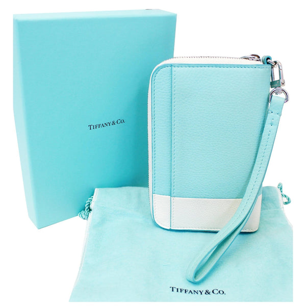 Tiffany & Co Wallet Block Zip Around White & Blue for sale