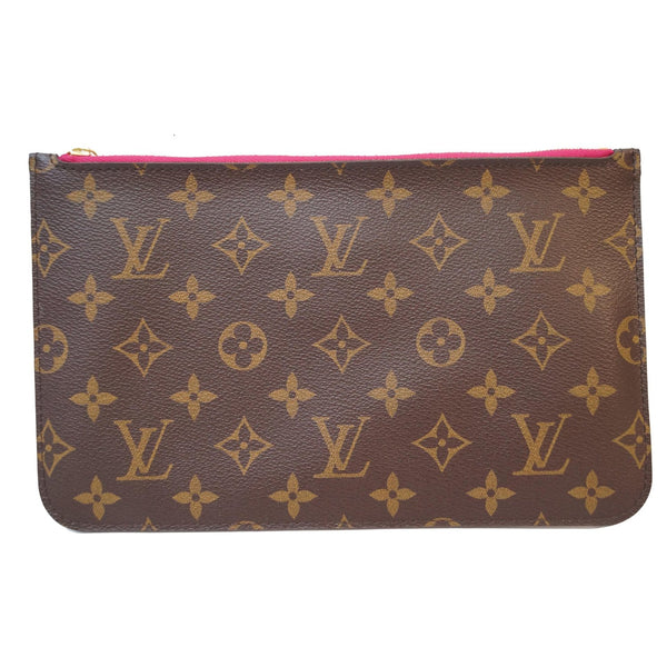 LOUIS VUITTON Pochette Wristlet Pouch Monogram Canvas Neverfull GM Brown