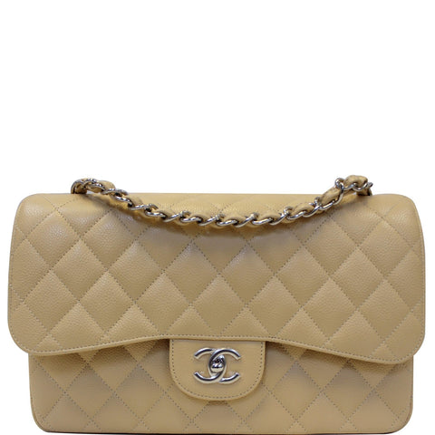 6abb61c8def9 CHANEL Timeless Classic Jumbo Double Flap Caviar Leather Shoulder Bag Beige
