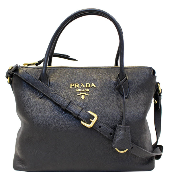 PRADA Daino Medium Leather Tote Shoulder Bag Black