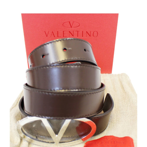 Valentino Logo Dark Brown Leather Belt Size 36