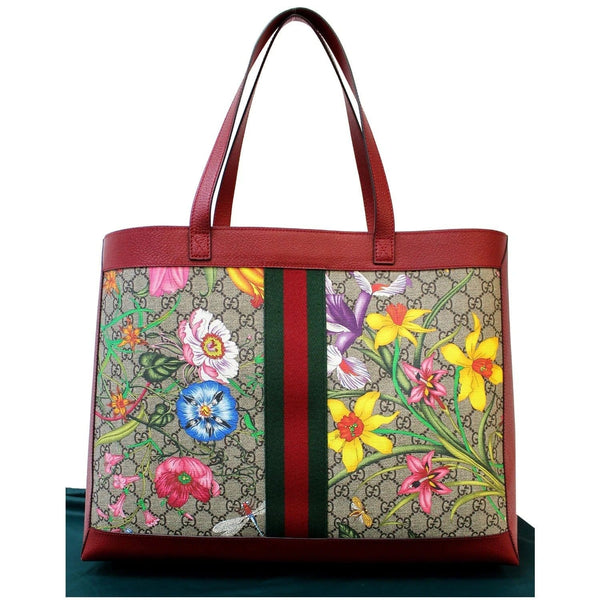 GUCCI Ophidia GG Flora Medium Tote Bag Red 547947