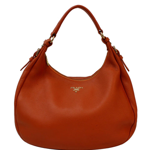 PRADA Vitello Daino Pebbled Leather Hobo Bag Orange