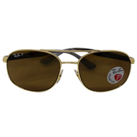 Ray-Ban Sunglasses RB3593 001/83 58 Gold Frame Brown Polarized Lens