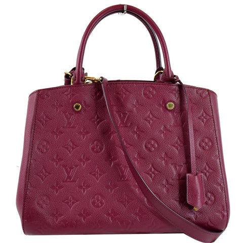 LOUIS VUITTON Montaigne MM Monogram Empreinte Shoulder Bag Raisin