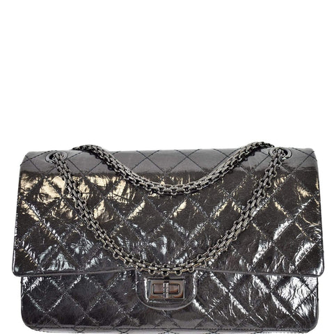 CHANEL 2.55 Reissue Double Flap Quilted Patent Leather So Black Shoulder Bag Black