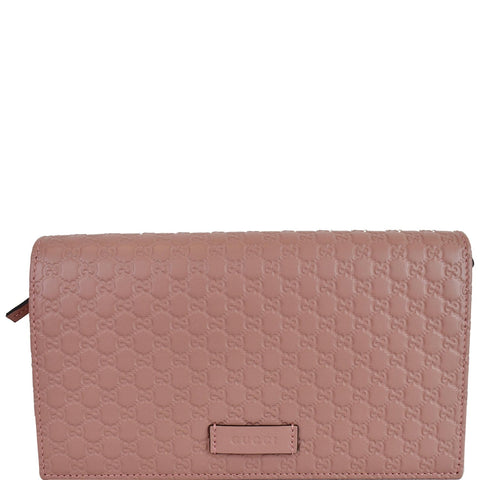 GUCCI Micro GG Guccissima Leather Crossbody Wallet Pink 466507