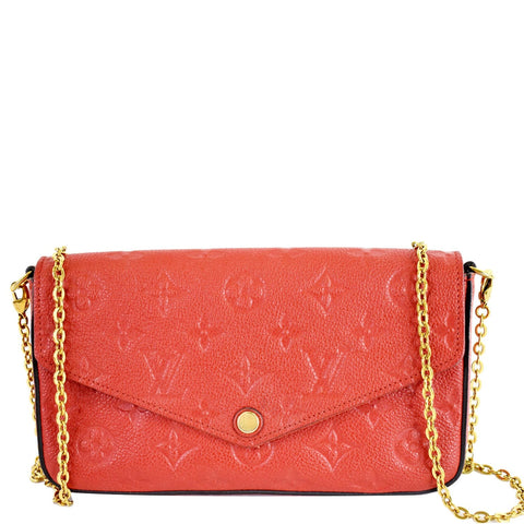 LOUIS VUITTON Pochette Felicie Empreinte Leather Crossbody Bag Red