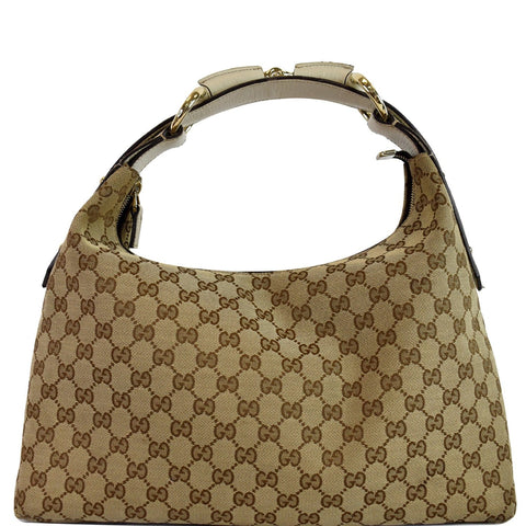 GUCCI Horsebit Medium GG Canvas Hobo Bag Beige 115867