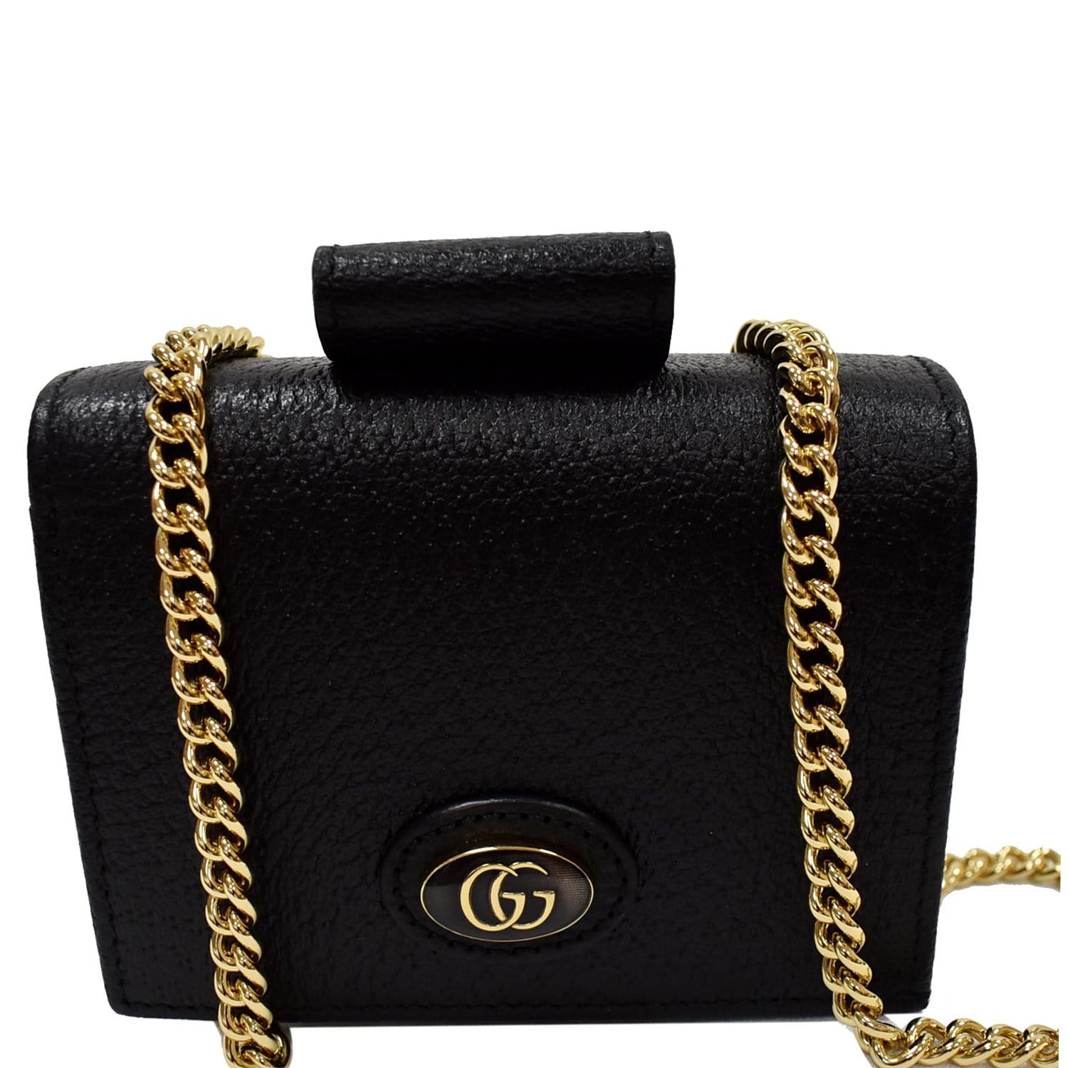 GUCCI GG Small Coin Leather Chain Wallet Black 617195