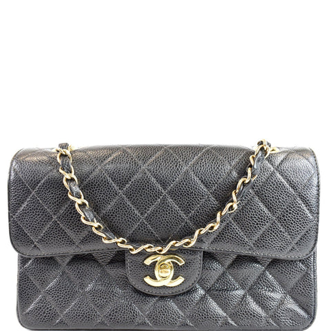 CHANEL Small Double Flap Caviar Quilted Leather Shoulder Bag Black