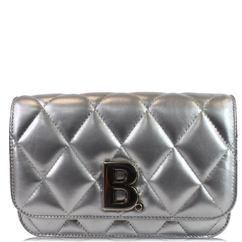 BALENCIAGA B Quilted Leather Wallet On Chain Crossbody Bag Silver