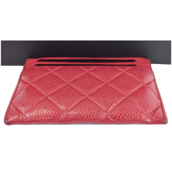 Chanel CC Card Holder Caviar Leather Case Hot Pink color