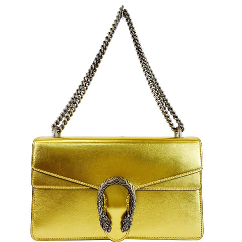 GUCCI Dionysus Small Satin Shoulder Bag Gold 400249