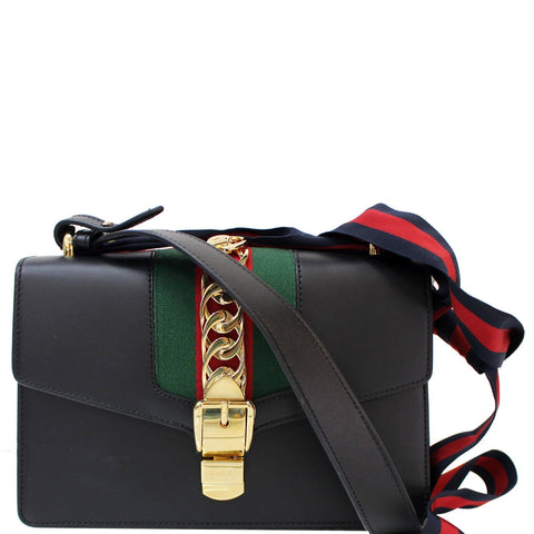 Gucci Sylvie Small Leather Shoulder Bag Black 421882