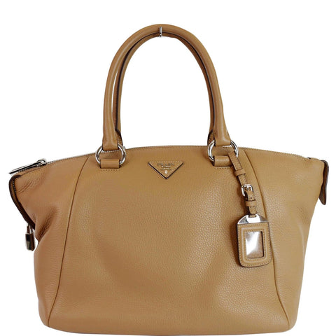 PRADA Inchiostro Vitello Daino Leather Double Handle Satchel Bag Tan