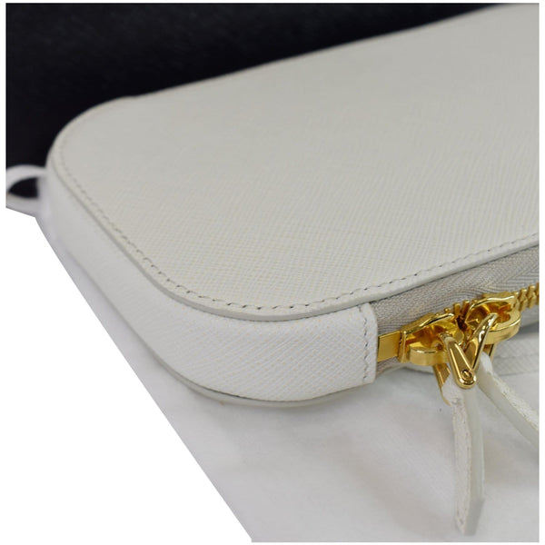 PRADA Saffiano Triangle Leather Crossbody Phone Pouch Bag White